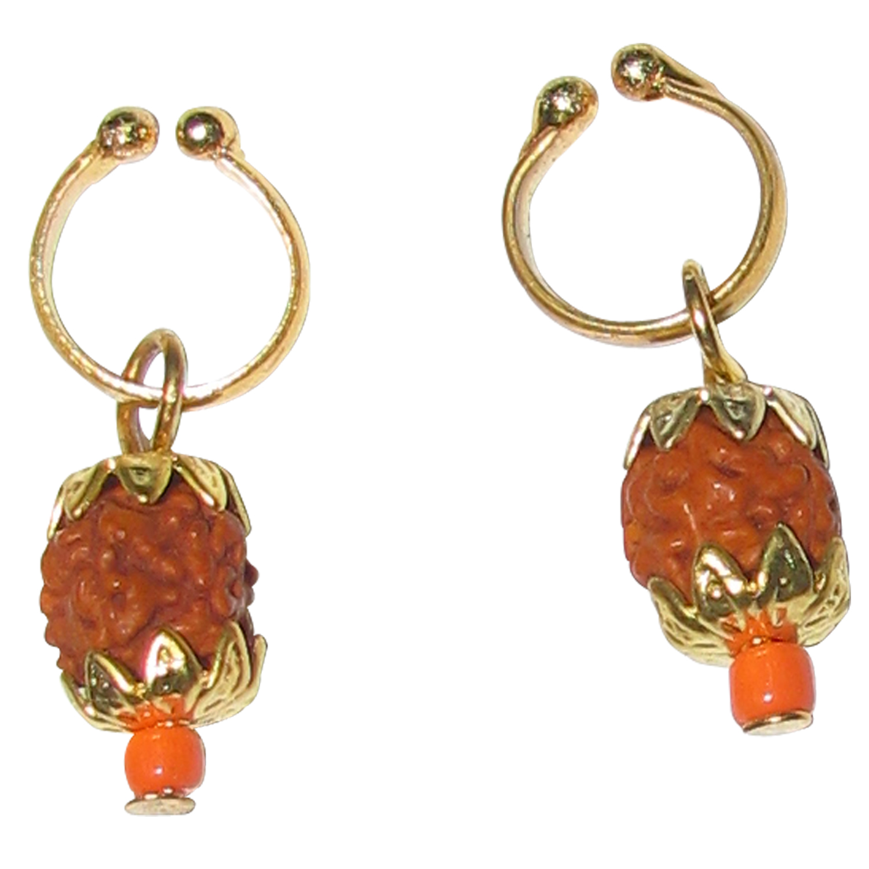 Natural Original Small Rudraksha Ear Rings Adjustable Non Piercing ...