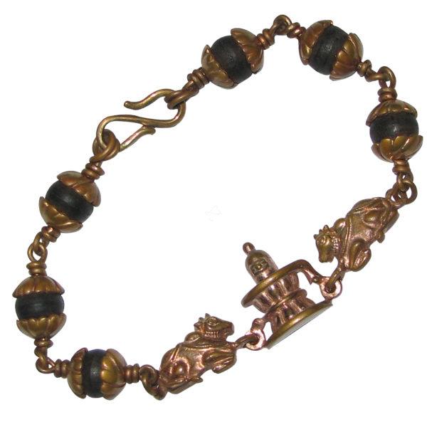 01 - S653007 - Panjalogam Karungali Mani Lingam Nandi Bracelet